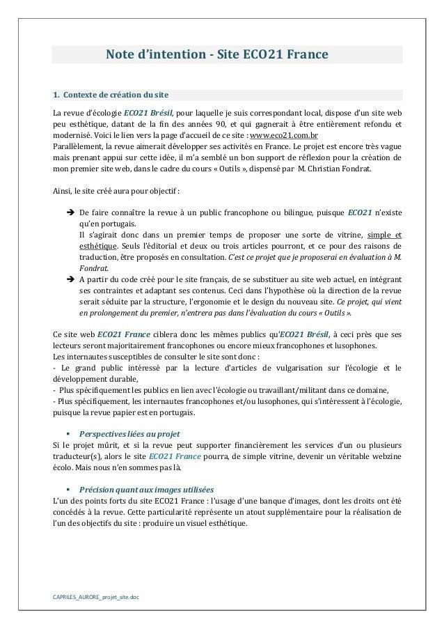 Note d'intention - Site ECO21 France 1. Contexte de création du site La revue d'écologie ECO21 Brésil, pour laquelle je su...