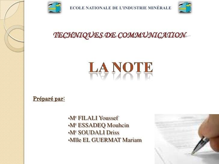 ECOLE NATIONALE DE L'INDUSTRIE MINÉRALEPréparé par:               •Mr FILALI Youssef               •Mr ESSADEQ Mouhcin    ...