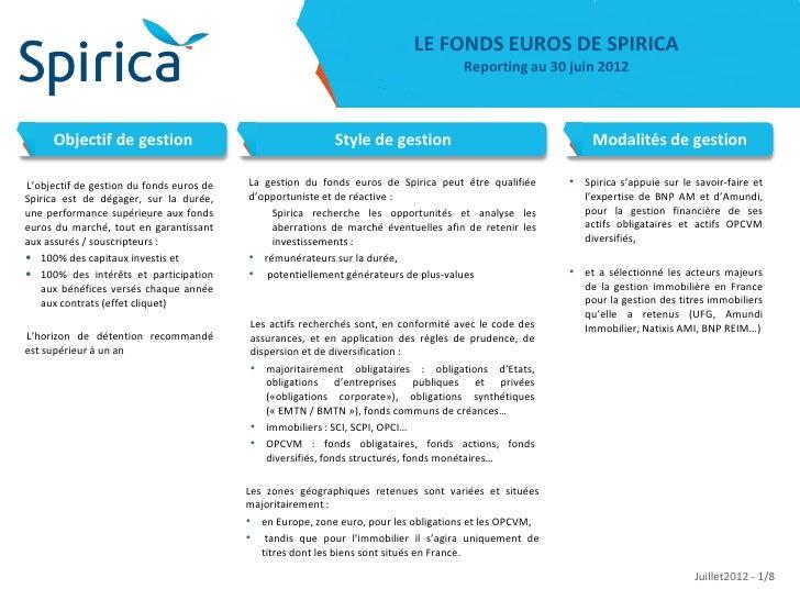 LE FONDS EUROS DE SPIRICA                                                                                     Reporting au...
