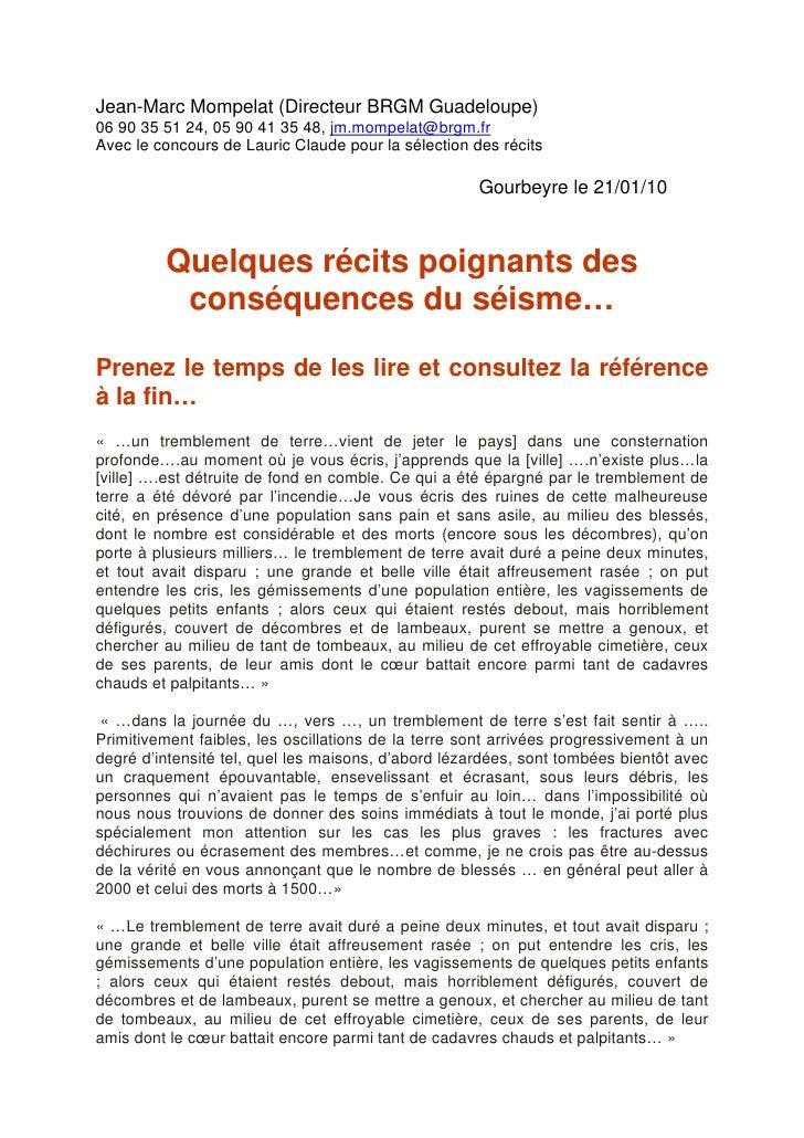 Jean-Marc Mompelat (Directeur BRGM Guadeloupe) 06 90 35 51 24, 05 90 41 35 48, jm.mompelat@brgm.fr Avec le concours de Lau...
