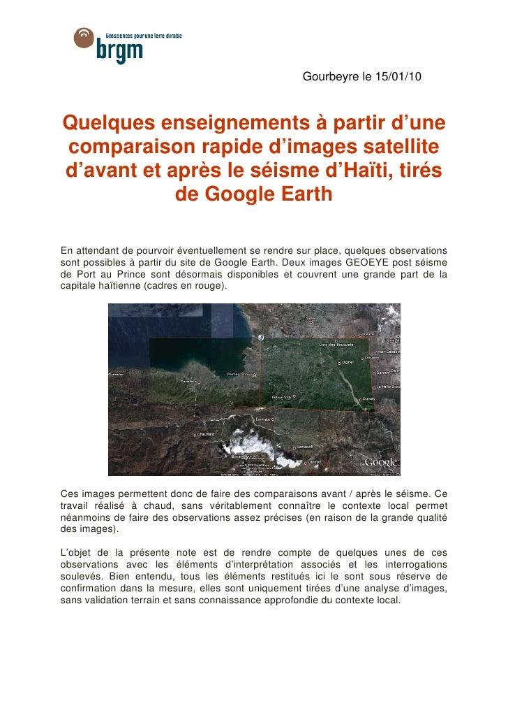 Gourbeyre le 15/01/10    Quelques enseignements à partir d'une comparaison rapide d'images satellite d'avant et après le s...