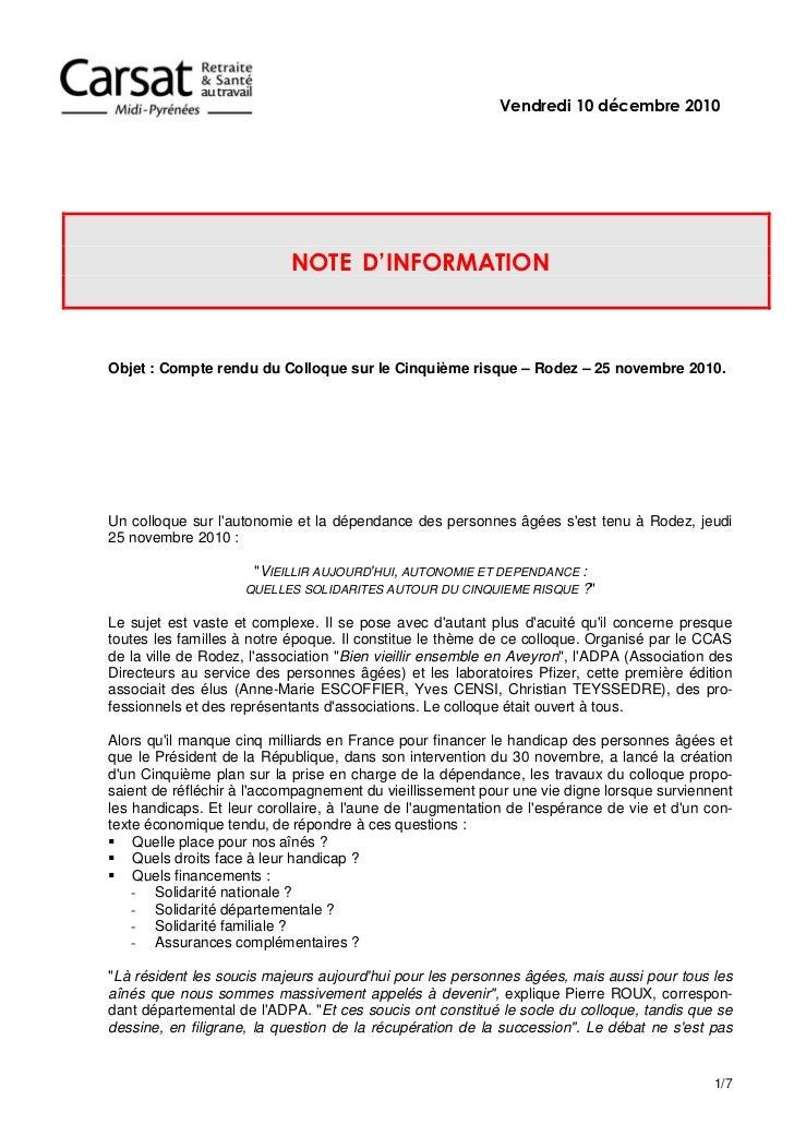 Vendredi 10 décembre 2010                            NOTE D'INFORMATIONObjet : Compte rendu du Colloque sur le Cinquième r...