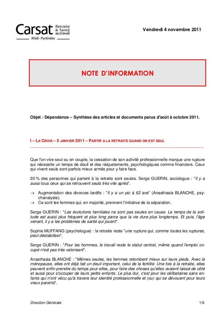 Dépendance : revue de presse Novembre 2011