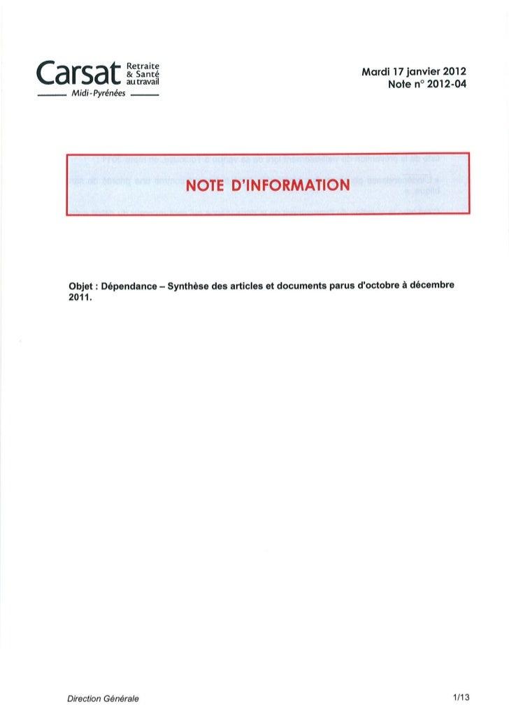 Dépendance : revue de presse 4ème trimestre 2011