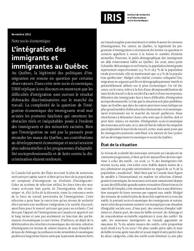 Note iris   l'intégration des immigrant(e)s au québec