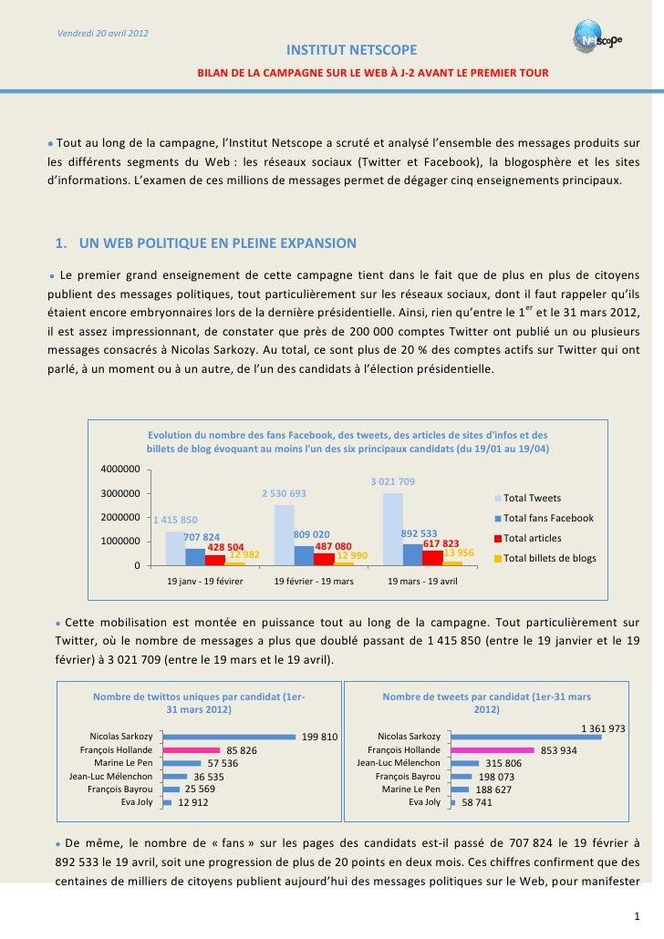 Note netscope bilan présidentielle vendredi 20 avril 2012 20h