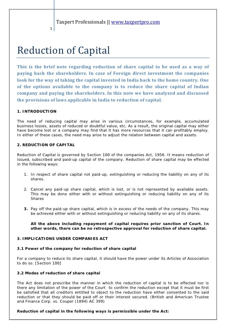 Note on reduction of capital