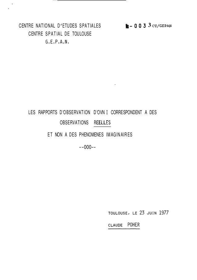 CENTRE NATIONAL D ' ETUDES SPATIALES h - O 0 3 3 CT/GEPAN  CENTRE SPATIAL DE TOULOUSE  G8E8P8A,N8  LES RAPPORTS D 'OBSERVA...