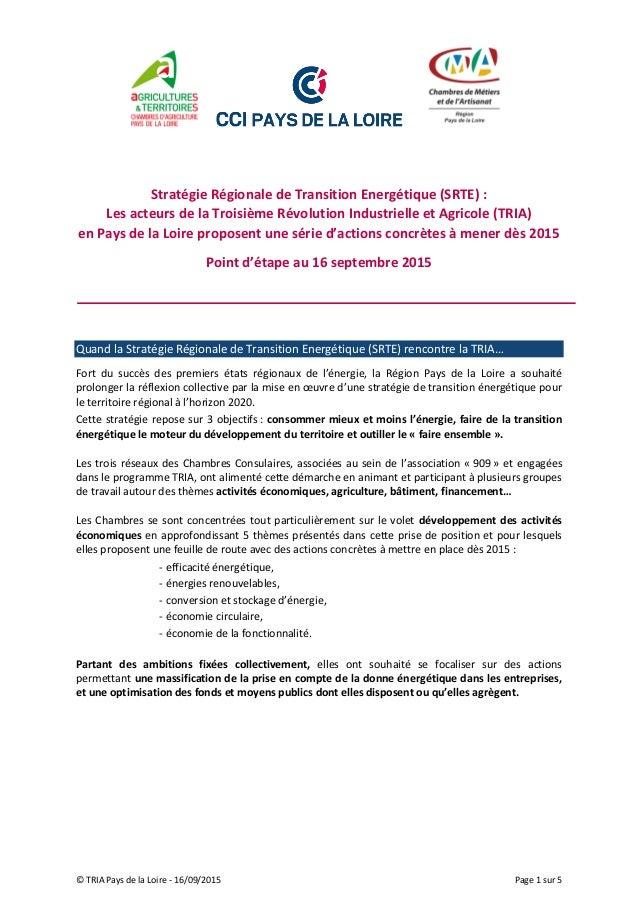 © TRIA Pays de la Loire - 16/09/2015 Page 1 sur 5 Stratégie Régionale de Transition Energétique (SRTE) : Les acteurs de la...
