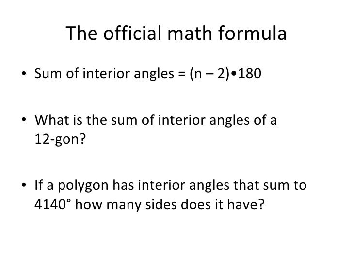 1 25 10 interior and exterior angles - Exterior angle of a polygon formula ...