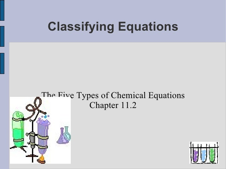 Classifying Equations The Five Types of Chemical Equations Chapter 11.2