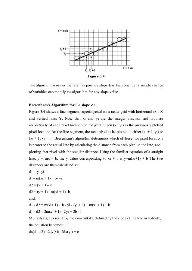 Bresenham Line Drawing Algorithm For Slope Greater Than 1 : Comuter graphics notes