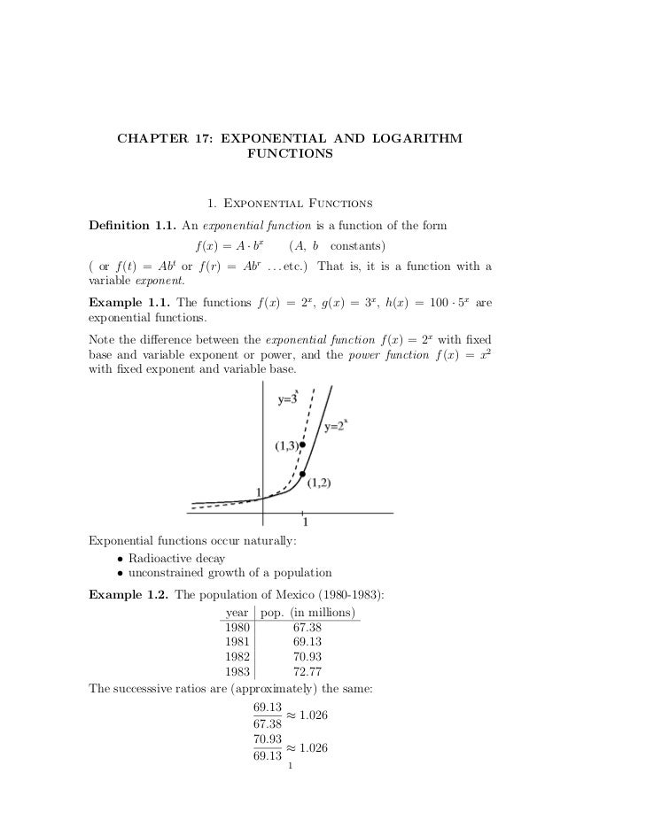 CHAPTER 17: EXPONENTIAL AND LOGARITHM                    FUNCTIONS                     1. Exponential FunctionsDefinition 1...