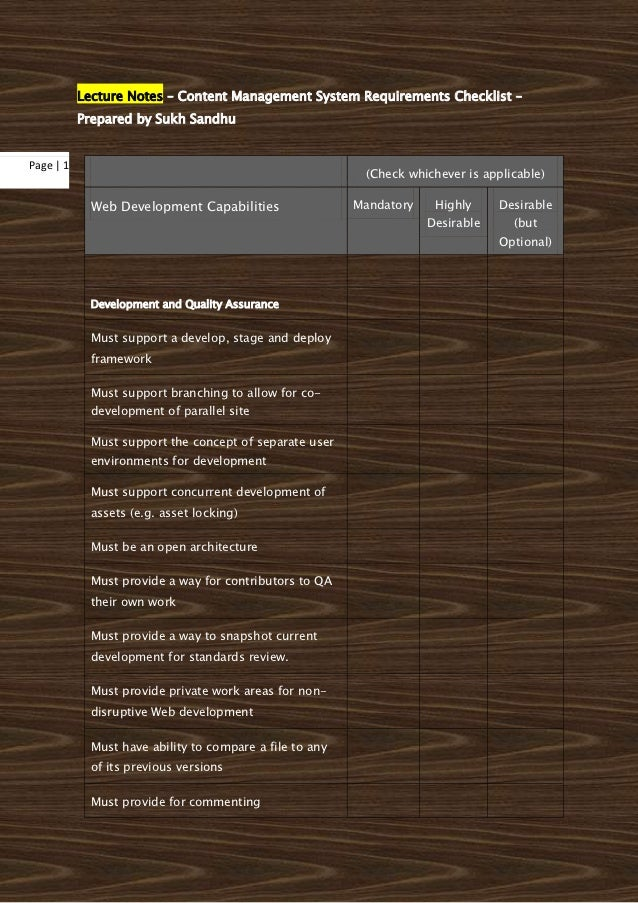 Lecture Notes – Content Management System Requirements Checklist –           Prepared by Sukh SandhuPage   1              ...