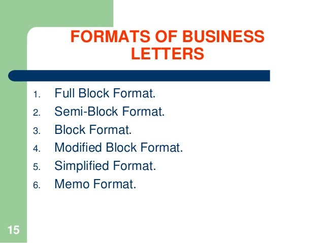 Formats of business letters 1 2 3 4 5 6
