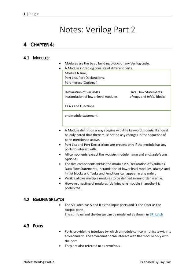 Notes: Verilog Part 2 - Modules and Ports - Structural Modeling (Gate-Level Modeling)