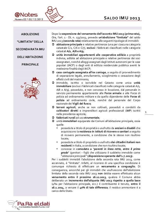 """@ Notes  Numero 03 • 05/12/2013  ABOLIZIONE """"LIMITATA"""" DELLA SECONDA RATA IMU DELL'ABITAZIONE PRINCIPALE  S ALDO IMU 2013 ..."""