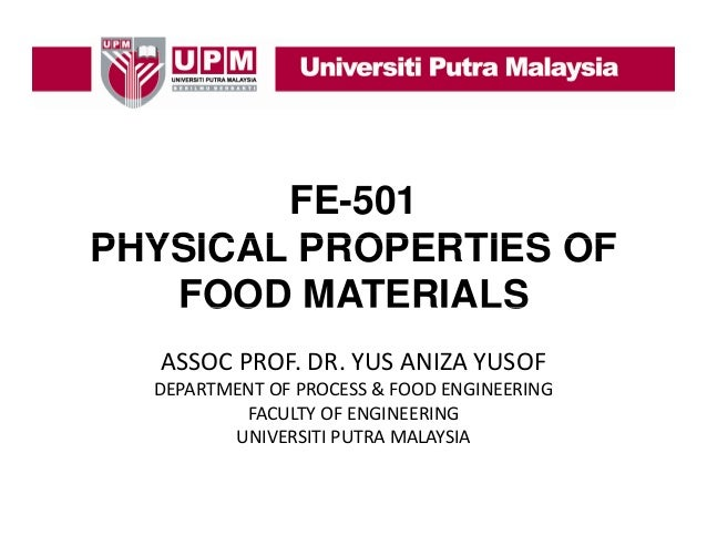 Fe-501 physical properties of food Materials