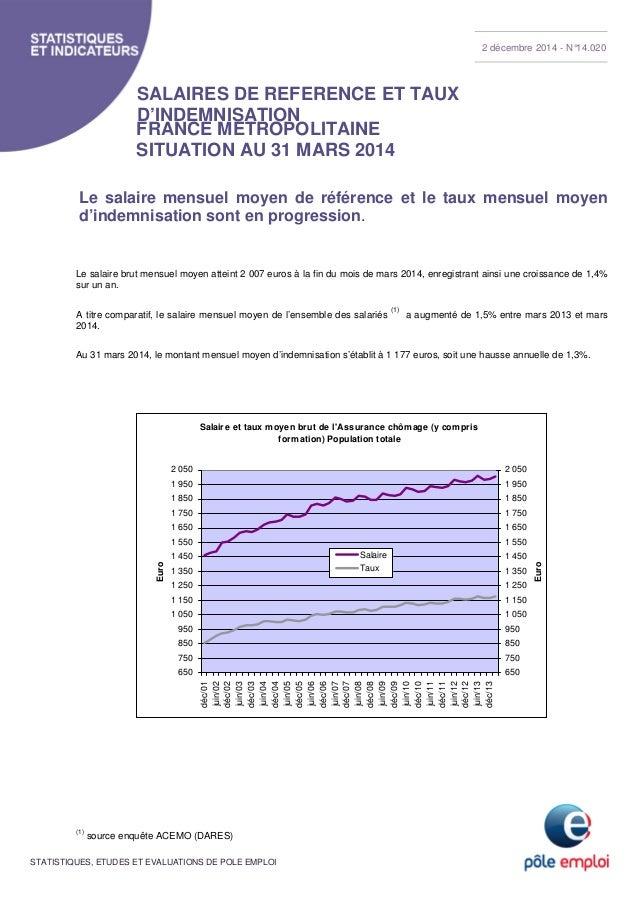 SALAIRES DE REFERENCE ET TAUX  D'INDEMNISATION  FRANCE METROPOLITAINE  SITUATION AU 31 MARS 2014  Le salaire mensuel moyen...