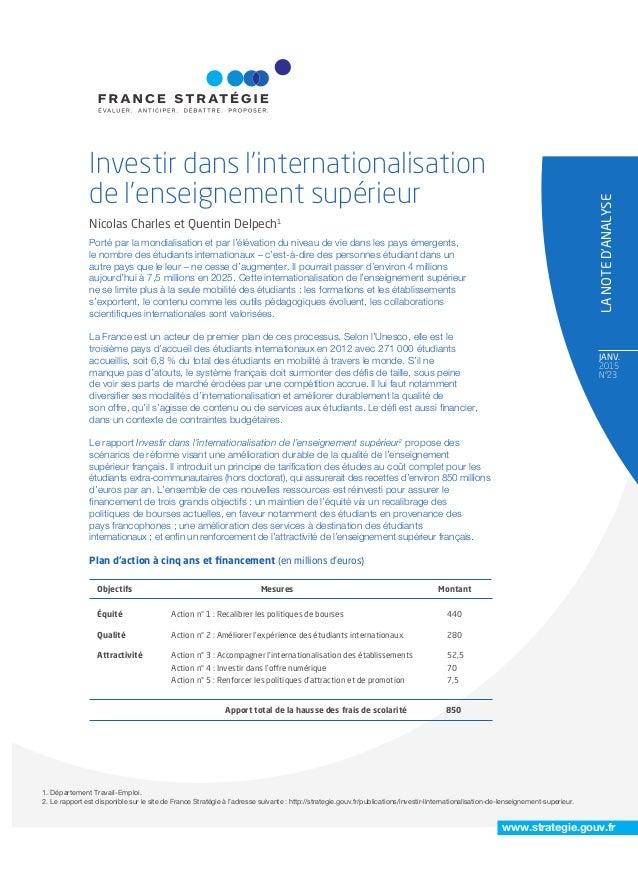 JANV. 2015 N°23 LANOTED'ANALYSE www.strategie.gouv.fr Porté par la mondialisation et par l'élévation du niveau de vie dans...