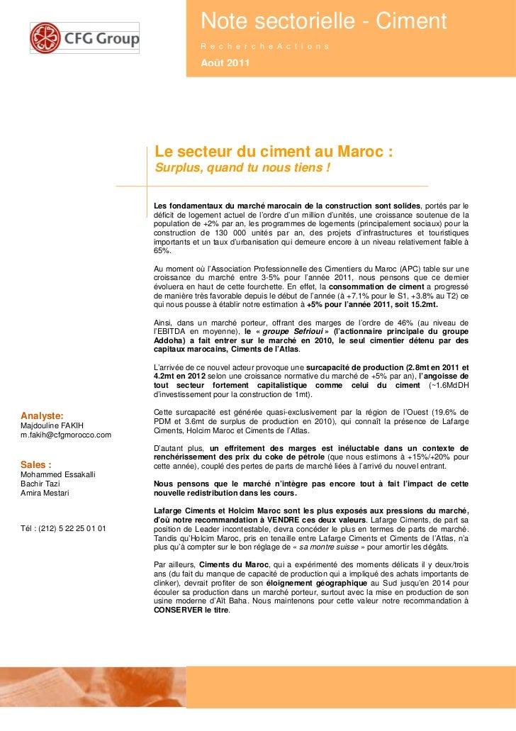 Note secteur ciment   aout 2011 - cfg