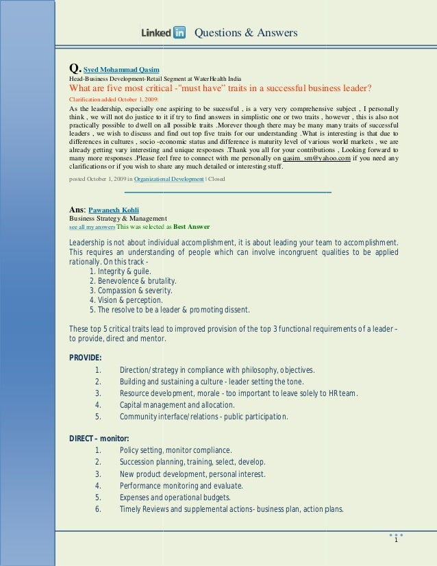 Q. Syed Mohammad Qasim Head-Business Development-Retail Segment at WaterHealth India What are five most critical Clarifica...