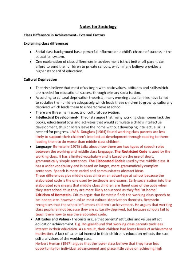 Notes for SociologyClass Difference in Achievement- External FactorsExplaining class differencesSocial class background ha...