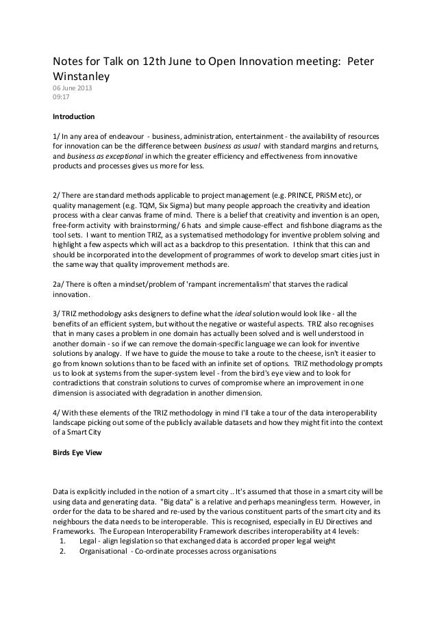 Notes for Talk on 12th June to Open Innovation meeting: PeterWinstanley06 June 201309:17Introduction1/ In any area of ende...
