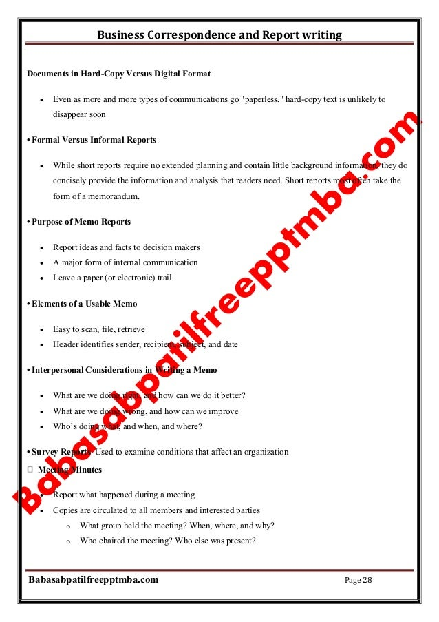 report writing format for business communication
