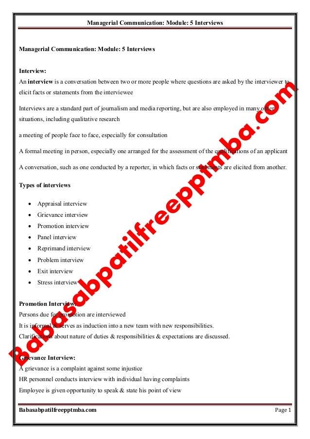 Notes managerial communication mod 5 interviews  mba 1st sem by babasab patil (karrisatte)