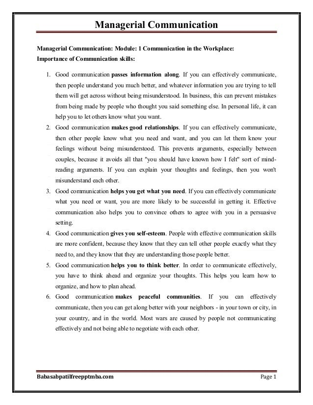 Managerial Communication Babasabpatilfreepptmba.com Page 1 Managerial Communication: Module: 1 Communication in the Workpl...