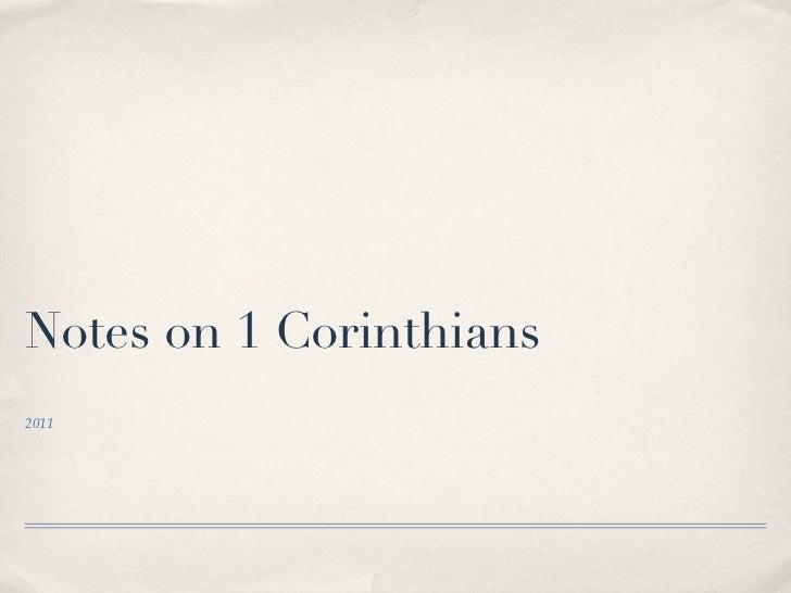 Notes on 1 Corinthians2011