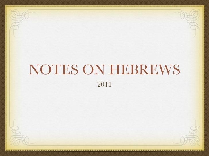 Notes on hebrews