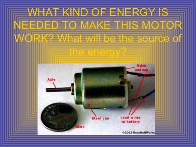WHAT KIND OF ENERGY ISNEEDED TO MAKE THIS MOTORWORK? What will be the source ofthe energy?