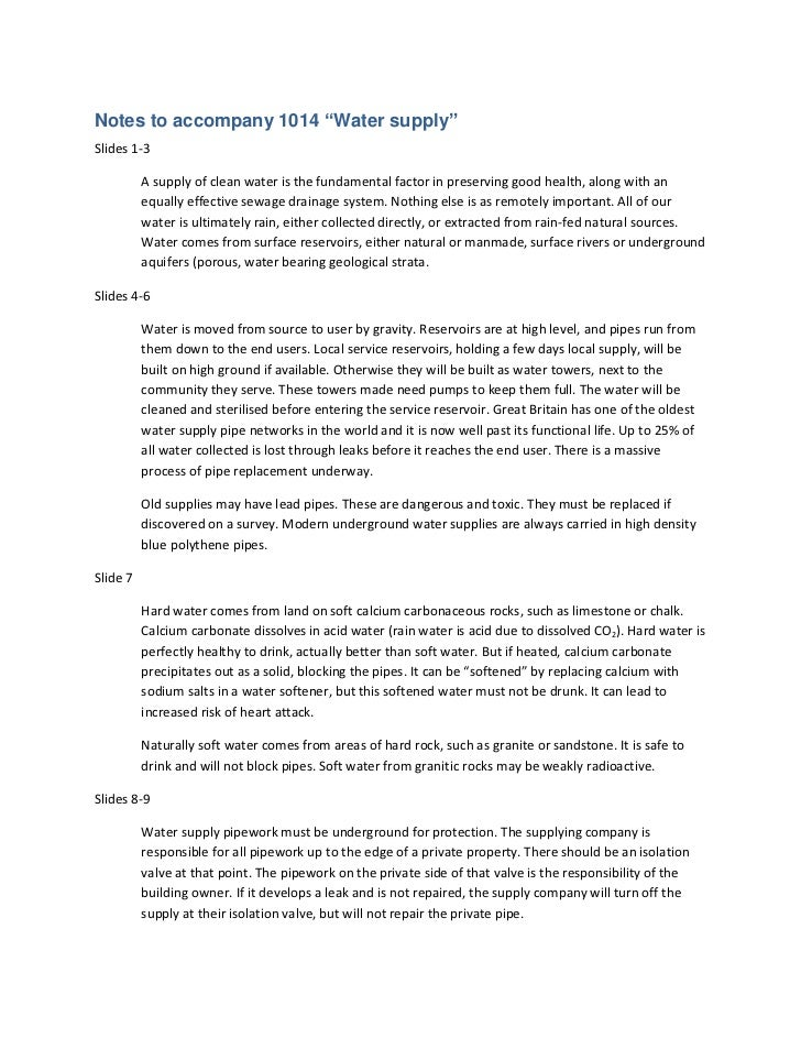 """Notes to accompany 1014 """"Water supply""""Slides 1-3          A supply of clean water is the fundamental factor in preserving ..."""