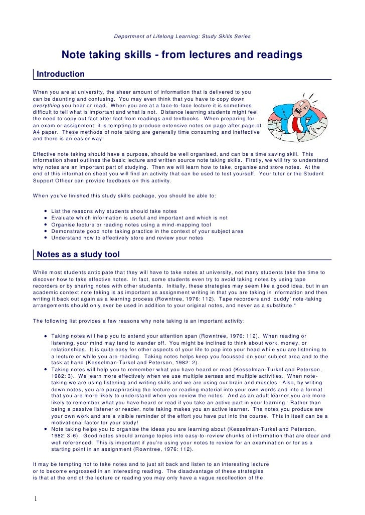 Department of Lifelong Learning: Study Skills Series            Note taking skills - from lectures and readings Introducti...