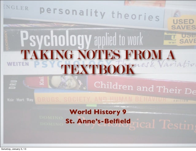 TAKING NOTES FROM A                       TEXTBOOK                           World History 9                          St. ...