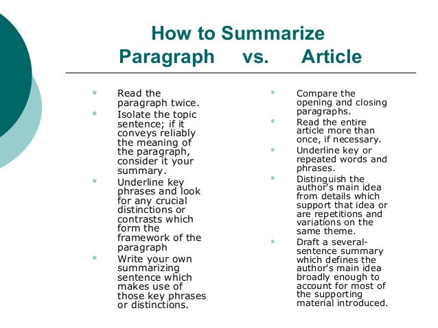 how to start an article summary