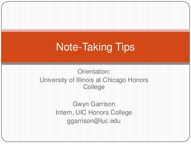 Note Taking Tips for Incoming Freshmen at UIC Honors College