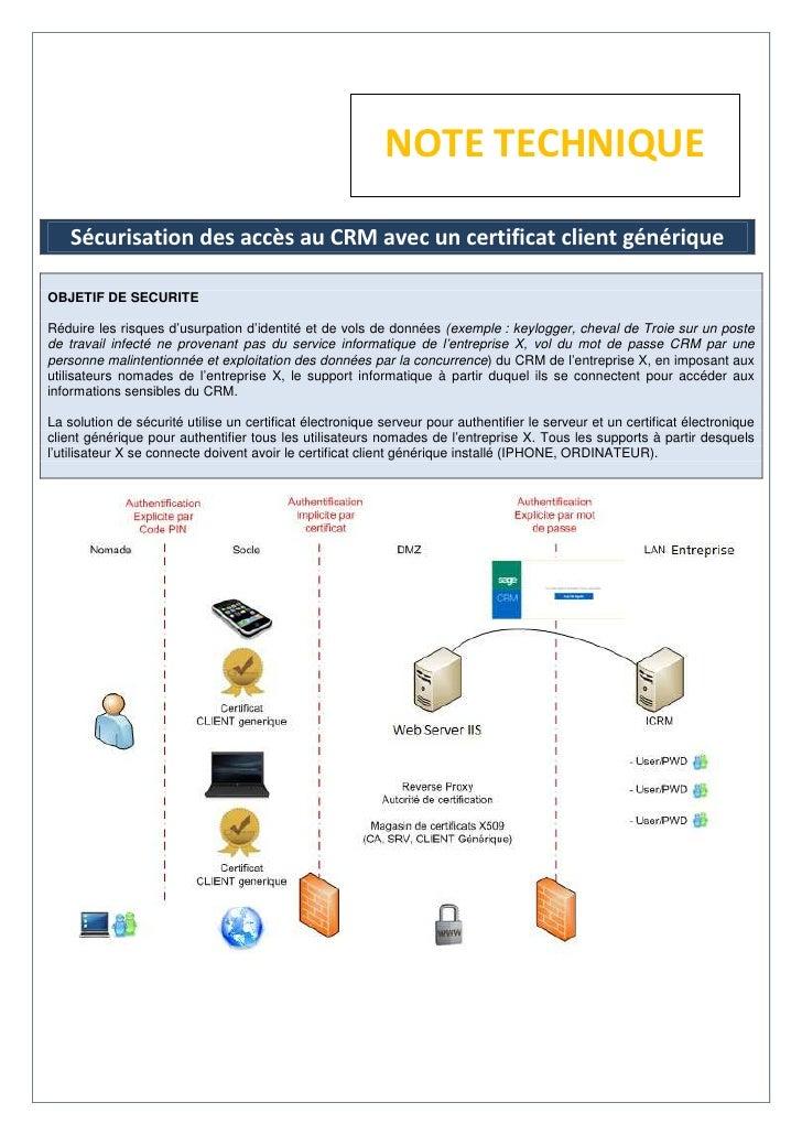 NOTE TECHNIQUE    Sécurisation des accès au CRM avec un certificat client génériqueOBJETIF DE SECURITERéduire les risques ...