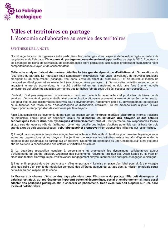 1  Villes et territoires en partage  L'économie collaborative au service des territoires  SYNTHESE DE LA NOTE  Covoiturage...