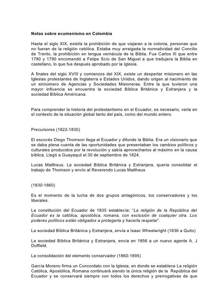 Notas sobre ecumenismo en ColombiaHasta el siglo XIX, existía la prohibición de que viajaran a la colonia, personas queno ...
