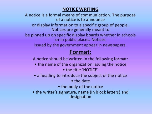 Physics format of notice writing in english