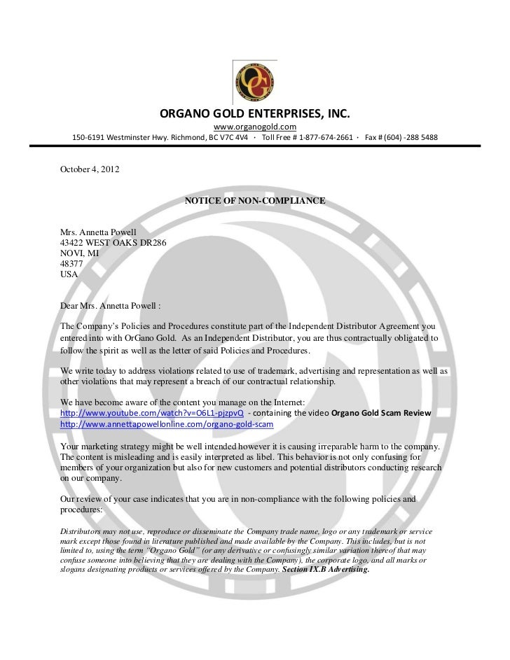 Organo Gold Scam NOTICE OF NON-COMPLIANCE