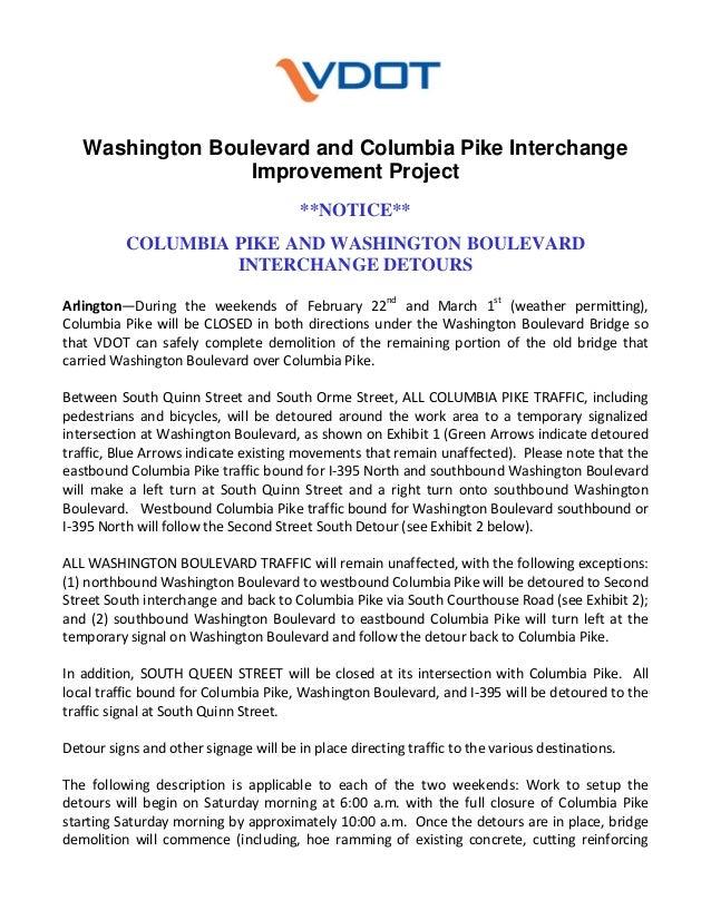 Washington Boulevard and Columbia Pike Interchange Improvement Project **NOTICE** COLUMBIA PIKE AND WASHINGTON BOULEVARD I...