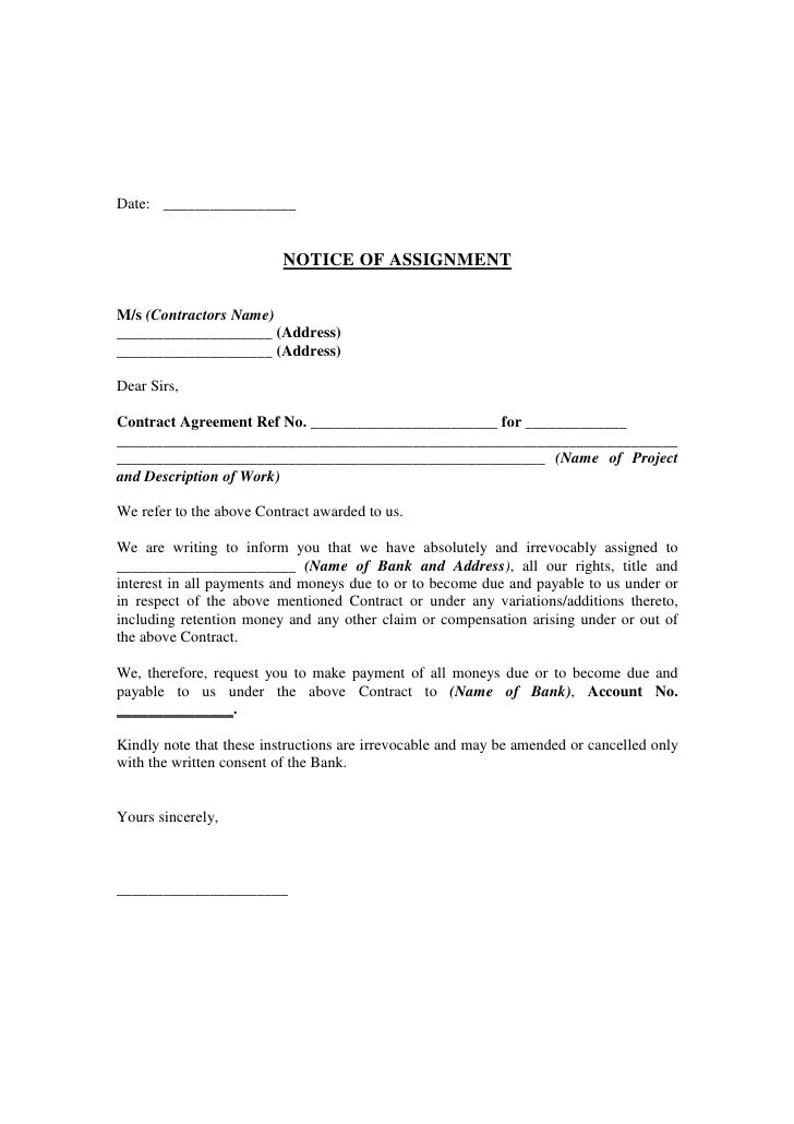 Notice of assignment