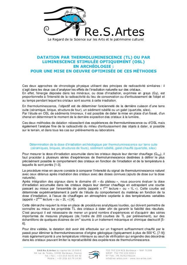 Re.S.Artes  Le Regard de la Science sur les Arts et le patrimoine culturel  DATATION PAR THERMOLUMINESCENCE (TL) OU PAR LU...