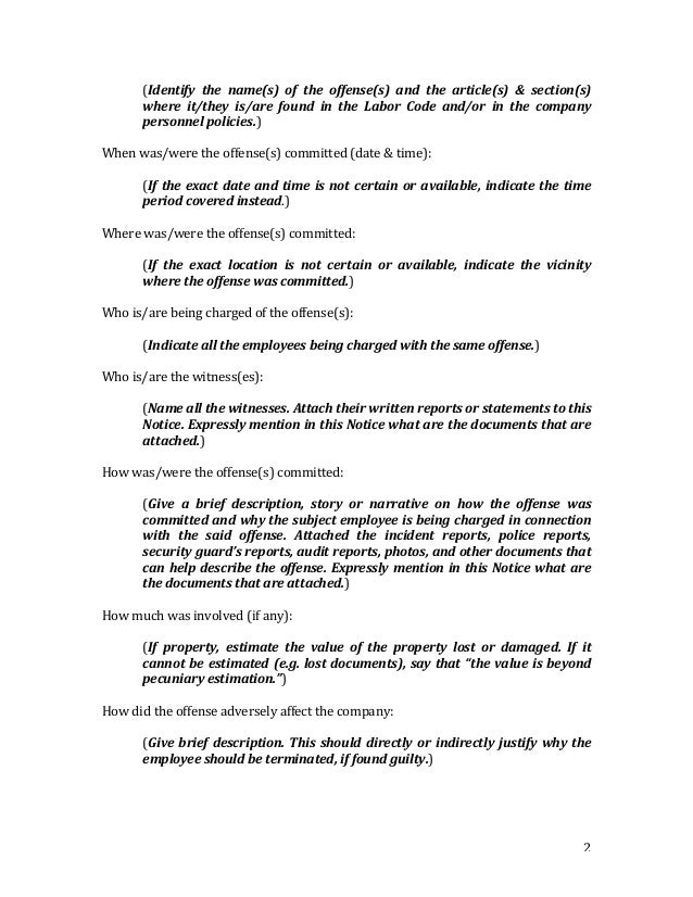 Notice To Explain SAMPLE FORM First Notice