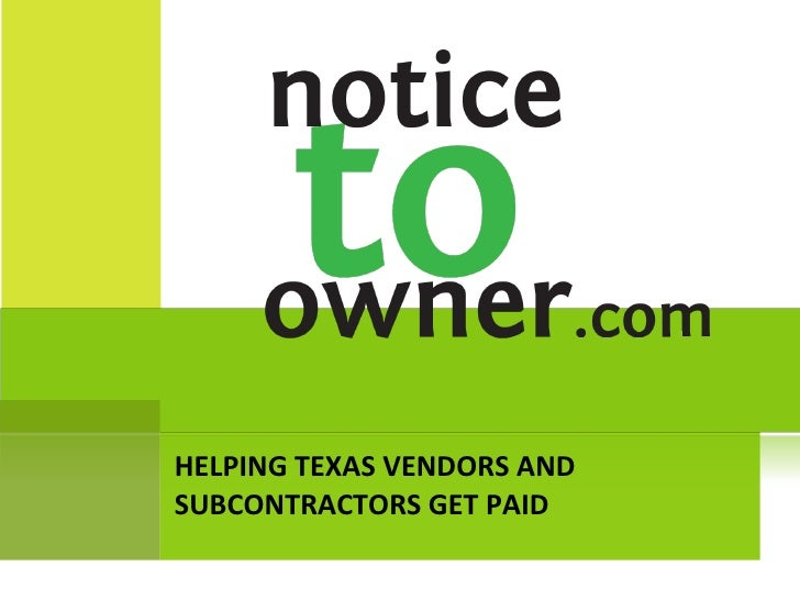 HELPING TEXAS VENDORS AND SUBCONTRACTORS GET PAID