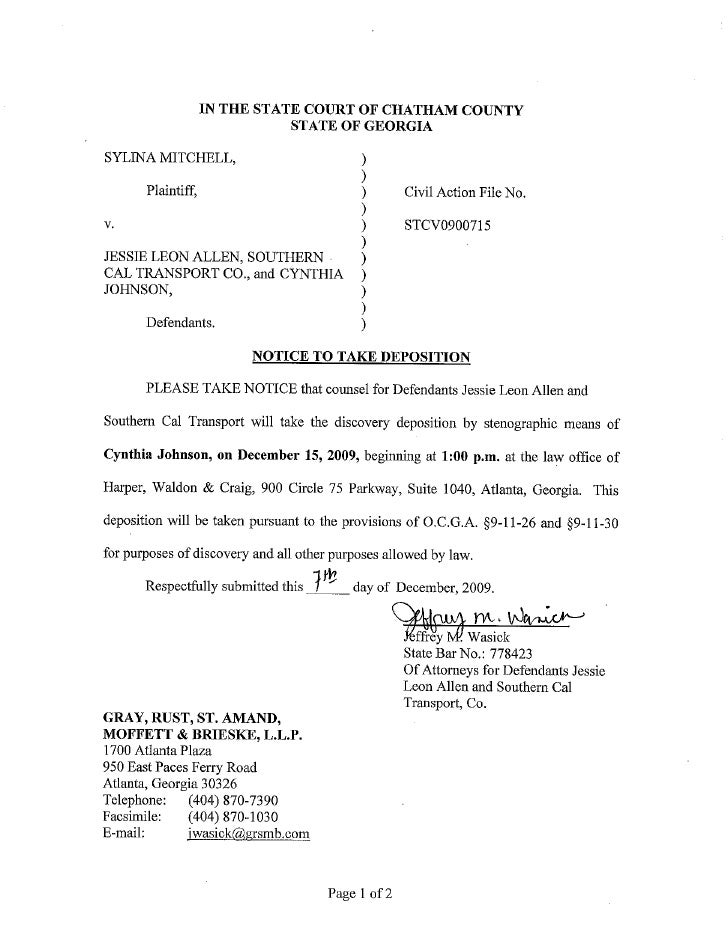 Notice To Take Def Johnson S Deposition
